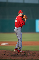 Palm Beach Cardinals relief pitcher John Kilichowski (35) gets ready to deliver a pitch during a game against the Jupiter Hammerheads on August 4, 2018 at Roger Dean Chevrolet Stadium in Jupiter, Florida.  Palm Beach defeated Jupiter 7-6.  (Mike Janes/Four Seam Images)