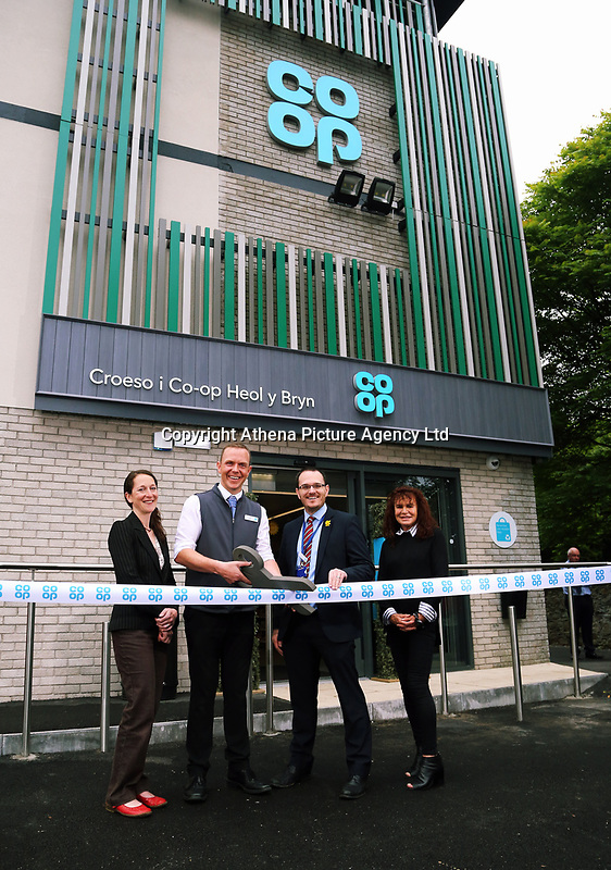 (L-R) Councillor Mary Sherwood, store manager Aled Jones, area manager Chris Ellis and local Councillor Irene Mann