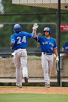 GCL Blue Jays third baseman Joseph Reyes (24) is congratulated by Troy Squires (8) as he crosses the plate after hitting a home run in the top of the ninth inning during a game against the GCL Phillies East on August 10, 2018 at Carpenter Complex in Clearwater, Florida.  GCL Blue Jays defeated GCL Phillies East 8-3.  (Mike Janes/Four Seam Images)