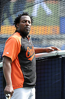 Baltimore Orioles DH Vladimir Guerrero #27 during game against the New York Yankees at Yankee Stadium on September 5, 2011 in Bronx, NY.  Yankees defeated Orioles 11-10.  Tomasso DeRosa/Four Seam Images