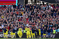 3rd October 2021;   City of London Stadium, London, England; EPL Premier League football, West Ham versus Brentford; Brentford Manager Thomas Frank celebrates the 1-2 win with fans