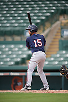 GCL Twins shortstop Estamy Urena (15) at bat during the first game of a doubleheader against the GCL Orioles on August 1, 2018 at CenturyLink Sports Complex Fields in Fort Myers, Florida.  GCL Twins defeated GCL Orioles 7-6 in the completion of a suspended game originally started on July 31st, 2018.  (Mike Janes/Four Seam Images)