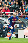 Andres Iniesta Lujan of FC Barcelona in action during the La Liga 2017-18 match between FC Barcelona and Valencia CF at Camp Nou on 14 April 2018 in Barcelona, Spain. Photo by Vicens Gimenez / Power Sport Images