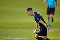 SAN JOSE, CA - NOVEMBER 4: Cristian Espinoza #10 of the San Jose Earthquakes celebrates scoring during a game between Los Angeles FC and San Jose Earthquakes at Earthquakes Stadium on November 4, 2020 in San Jose, California.