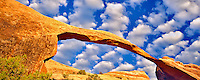 Landscape Arch with clouds. Arches National Park, Utah. Sky has been added.