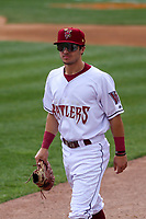 Wisconsin Timber Rattlers outfielder Sal Frelick (17) takes the field prior to a game against the Cedar Rapids Kernels on September 8, 2021 at Neuroscience Group Field at Fox Cities Stadium in Grand Chute, Wisconsin.  (Brad Krause/Four Seam Images)