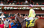 Monomoy Girl (no. 4) wins the Coaching Club American Oaks for three year old fillies at Saratoga Racecourse.  The winner, ridden by Florent Geroux and trained by Brad Cox, led from the start, drew away from Midnight Bisou (no. 2) in the homestretch and finished under a hand ride. (Bruce Dudek/Eclipse Sportswire)