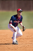Shippensburg Raiders third baseman Ryan McMillen (10) during infield practice prior to the game against the Belmont Abbey Crusaders at Abbey Yard on February 8, 2015 in Belmont, North Carolina.  The Raiders defeated the Crusaders 14-0.  (Brian Westerholt/Four Seam Images)