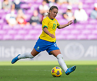 ORLANDO, FL - FEBRUARY 21: Andressinha #17 of Brazil crosses the ball during a game between Brazil and USWNT at Exploria Stadium on February 21, 2021 in Orlando, Florida.