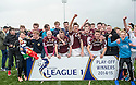 Stenhousemuir players and fans celebrate winning the League One Play Off Final and avoiding relegation.