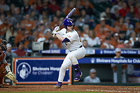Alex Milazzo (20) of the LSU Tigers at bat against the Texas Longhorns in game three of the 2020 Shriners Hospitals for Children College Classic at Minute Maid Park on February 28, 2020 in Houston, Texas. The Tigers defeated the Longhorns 4-3. (Brian Westerholt/Four Seam Images)