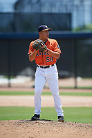 GCL Astros relief pitcher Miguel Figueroa (58) gets ready to deliver a pitch during a game against the GCL Nationals on August 6, 2018 at FITTEAM Ballpark of the Palm Beaches in West Palm Beach, Florida.  GCL Astros defeated GCL Nationals 3-0.  (Mike Janes/Four Seam Images)