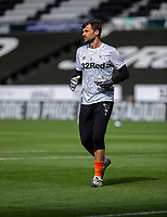12th September 2020; Pride Park, Derby, East Midlands; English Championship Football, Derby County versus Reading; Derby County Goalkeeper David Marshall warming up on the pitch before the match