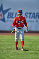 Alvaro Rubalcaba (4) of the Orem Owlz before the game against the Ogden Raptors at Lindquist Field on June 26, 2018 in Ogden, Utah. The Raptors defeated the Owlz 6-5. (Stephen Smith/Four Seam Images)