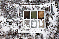 A snow and ice covered waste water treatment plant at the port in Gdansk.
