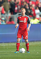 14 April 2012: Toronto FC defender Richard Eckersley #27 in action during a game between Chivas USA and Toronto FC at BMO Field in Toronto..Chivas USA won 1-0.