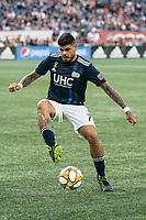 FOXBOROUGH, MA - SEPTEMBER 29: Gustavo Bao #7 of New England Revolution controls the ball during a game between New York City FC and New England Revolution at Gillettes Stadium on September 29, 2019 in Foxborough, Massachusetts.