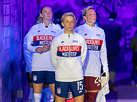 ORLANDO, FL - JANUARY 22: Megan Rapinoe #15 of the USWNT waits in the tunnel before a game between Colombia and USWNT at Exploria stadium on January 22, 2021 in Orlando, Florida.