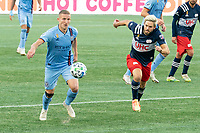 FOXBOROUGH, MA - SEPTEMBER 19: Alexander Ring #8 of New York City FC brings the ball forward with Kelyn Rowe #11 of New England Revolution in pursuit during a game between New York City FC and New England Revolution at Gillette on September 19, 2020 in Foxborough, Massachusetts.