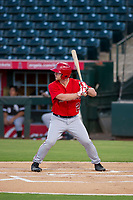 AZL Angels left fielder Jacob Pearson (2) at bat against the AZL White Sox on August 14, 2017 at Diablo Stadium in Tempe, Arizona. AZL Angels defeated the AZL White Sox 3-2. (Zachary Lucy/Four Seam Images)