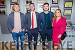 Junior All Ireland winning footballers Padraig Sullivan (Skellig Rangers), Finan Clifford (Waterville), Michael Foley (Ballydonoghue) with Rachel Kiely (Causeway).