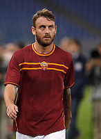 Calcio, Serie A: Roma vs ChievoVerona. Roma, stadio Olimpico, 31 ottobre 2013.<br /> AS Roma midfielder Daniele De Rossi warms up prior to the start of the Italian Serie A football match between AS Roma and ChievoVerona at Rome's Olympic stadium, 31 October 2013.<br /> UPDATE IMAGES PRESS/Isabella Bonotto