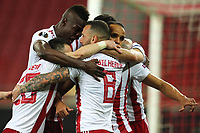 12th March 2020, Pireas, Greece; Europa League football, Olympiakos versus Wolves; Youssef El Arabi celebrates scoring for 1:0 in the 54th minute