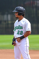 Clinton LumberKings designated hitter Joseph Rosa (22) during a Midwest League game against the Lansing Lugnuts on July 15, 2018 at Ashford University Field in Clinton, Iowa. Clinton defeated Lansing 6-2. (Brad Krause/Four Seam Images)