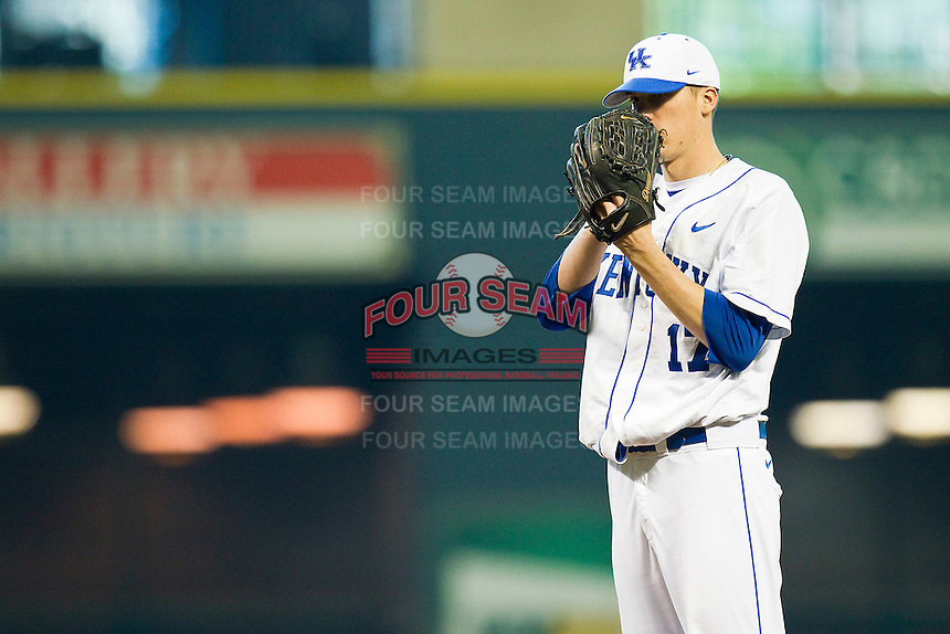 Starting pitcher Alex Meyer #17 of the Kentucky Wildcats looks to his catcher for the sign against the Houston Cougars at Minute Maid Park on March 5, 2011 in Houston, Texas.  Photo by Brian Westerholt / Four Seam Images