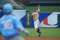 Johnny Adams (8) of the Boston College Eagles catches a fly ball against the North Carolina Tar Heels in Game Five of the 2017 ACC Baseball Championship at Louisville Slugger Field on May 25, 2017 in Louisville, Kentucky. The Tar Heels defeated the Eagles 10-0 in a game called after 7 innings by the Mercy Rule. (Brian Westerholt/Four Seam Images)