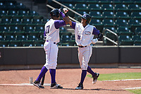 Joel Booker (28) of the Winston-Salem Dash bumps forearms with teammate Eloy Jimenez (27) after hitting a home run against the Potomac Nationals at BB&T Ballpark on August 6, 2017 in Winston-Salem, North Carolina.  The Nationals defeated the Dash 4-3 in 10 innings.  (Brian Westerholt/Four Seam Images)