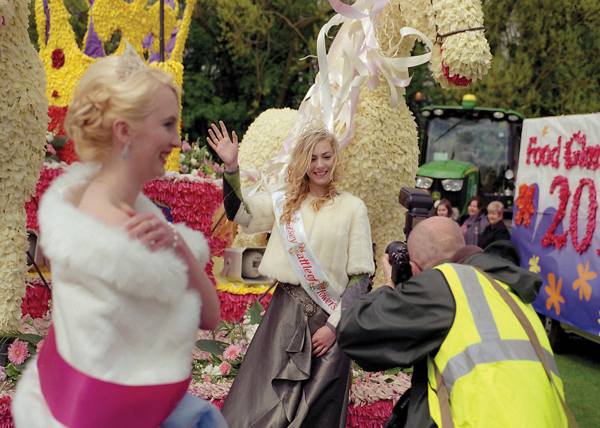 """Queen of the Bailiwick of Jersey,Battle of the Flowers Rebecca Houze.<br /> <br /> """"My ambition is to get young people interested in Jersey dairy and the Jersey new potato."""""""