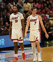 James Johnson (F Miami Heat, #16) und Goran Dragic (G Miami Heat, #7) - 22.01.2020: Miami Heat vs. Washington Wizards, American Airlines Arena
