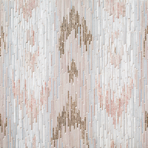Maya, a hand-cut tumbled mosaic, shown in Desert Pink, Afyon White, Cloud Nine, Italian Rose, and Emperador Light, is part of the Tissé® collection for New Ravenna.