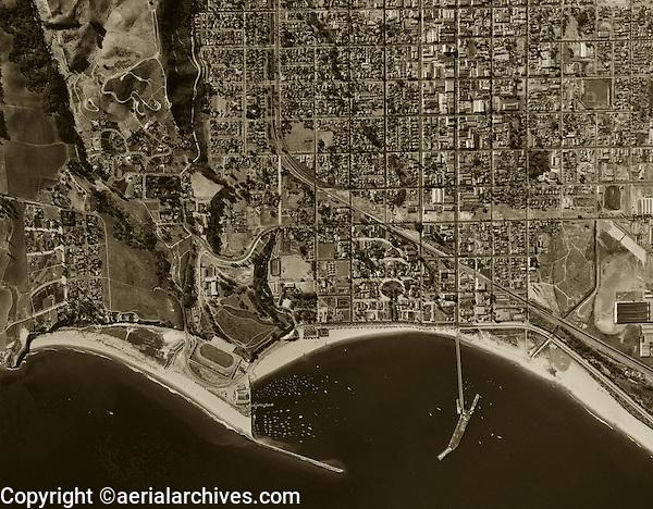 historical aerial photograph Santa Barbara California 1947