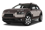 Stock pictures of low aggressive front three quarter view of a 2014 Citroen C4 CACTUS Shine Edition Midnight 5 Door Mini Van 2WD Low Aggressive