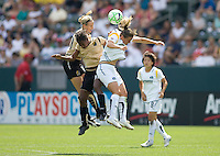 LA Sol's Manya Makoski battles FC Gold Pride's Formiga and Leslie Osborne. The LA Sol defeated FC Gold Pride of the Bay Area 1-0 at Home Depot Center stadium in Carson, California on Sunday April 19, 2009.  .