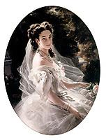 La Princesse Pauline de Metternich (nee comtesse Sandor von Szlavnicza 1836-1921) aristocrate autrichienne, femme du Prince RichardMetternich (ambassadeur a Paris ou elle tenait un salon litteraire), elle donnait le ton dans le domaine de la mode a Vienne, tableau par Franz Xaver Winterhalter (1805-1873) en 1860  --- Princess Pauline de Metternich (born Countess Sandor, 1836-1921) Austrian aristocrat, wife of Prince RichardMetternich, she influenced the fashion in Vienna , painting by Franz Xaver Winterhalter (1805-1873) in 1860