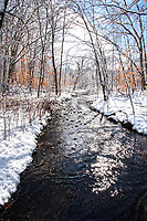 """Tranquil stream on a gentle winters morn.Limited edition print 20x30"""", mounted, matted, and framed in a custom wood frame.<br /> Price $650.00 plus shipping"""