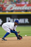 Round Rock Express shortstop Jurickson Profar #10 fields a ground ball in the Pacific Coast League baseball game against the New Orleans Zephyrs on April 21, 2013 at the Dell Diamond in Round Rock, Texas. Round Rock defeated New Orleans 7-1. (Andrew Woolley/Four Seam Images)