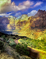 Road in Zion National Park with clouds, Utah