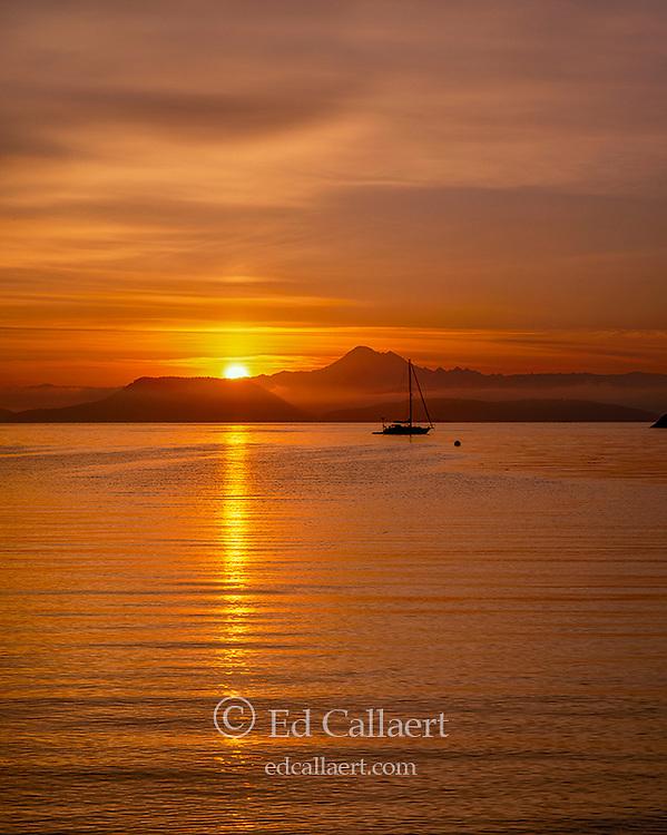 Sunrise over Mount Baker, Watmough Bay, San Juan Islands, Washington