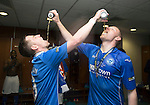 St Johnstone v Dundee United....17.05.14   William Hill Scottish Cup Final<br /> Steven MacLean and Brian Easton celebrate in the dressing room<br /> Picture by Graeme Hart.<br /> Copyright Perthshire Picture Agency<br /> Tel: 01738 623350  Mobile: 07990 594431