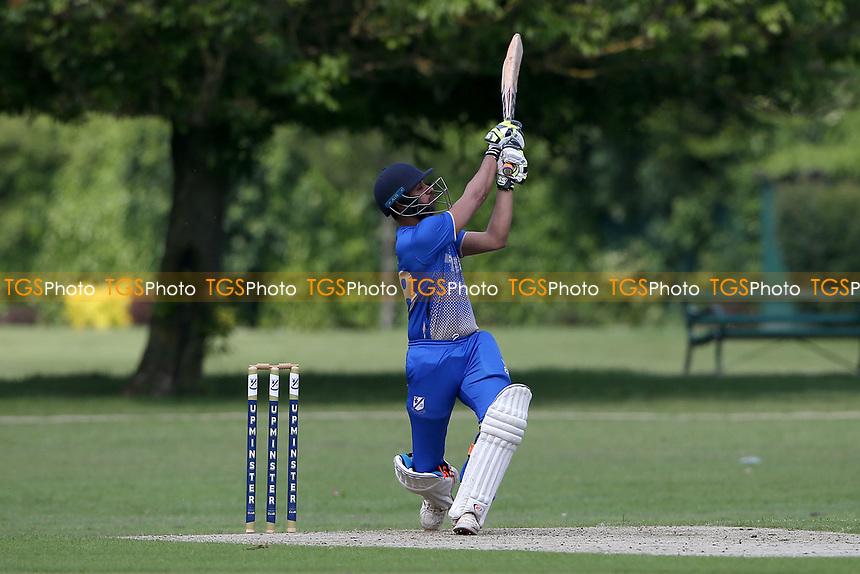 P Gupta hits 4 runs for Upminster during Upminster CC vs Fives & Heronians CC, Hamro Foundation Essex League Cricket at Upminster Park on 5th June 2021