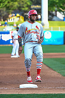 David Washington (39) of the Memphis Redbirds in action against the Salt Lake Bees in Pacific Coast League action at Smith's Ballpark on May 24, 2016 in Salt Lake City, Utah. The Bees defeated the Redbirds 7-5. (Stephen Smith/Four Seam Images)