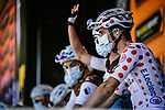 Polka Dot Jersey Benoit Cosnefroy (FRA) AG2R La Mondial at sign on before the start of Stage 8 of Tour de France 2020, running 141km from Cazeres-sur-Garonne to Loudenvielle, France. 5th September 2020.<br /> Picture: ASO/Pauline Ballet | Cyclefile<br /> All photos usage must carry mandatory copyright credit (© Cyclefile | ASO/Pauline Ballet)