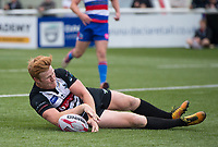 London Broncos James Cunningham scoring during the Betfred Championship match between London Broncos and Rochdale Hornets at Castle Bar , West Ealing , England  on 17 June 2018. Photo by Andrew Aleksiejczuk / PRiME Media Images.