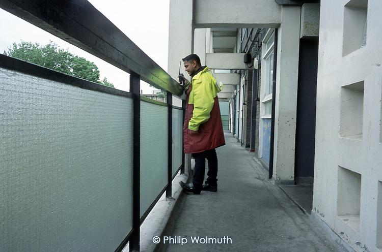 Bethnal Green Neighbourhood Warden  Mohibur Rahman patrols Collingwood Estate, Tower Hamlets, London.