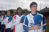 18 August 2010: Maxime Charlot, David Van Heyningen, Steven Vesque, are seen during the national anthem prior to the France 7-3 win over Ukraine, at the 2010 European Championship, under 21, in Brno, Czech Republic.