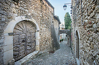France, Drome, Mirmande, labelled Les Plus Beaux Villages de France (The Most beautiful Villages of France), paved street ans houses in the village // France, Drôme (26), Mirmande, labellisé Les Plus Beaux Villages de France, ruelle pavée et maisons dans le village